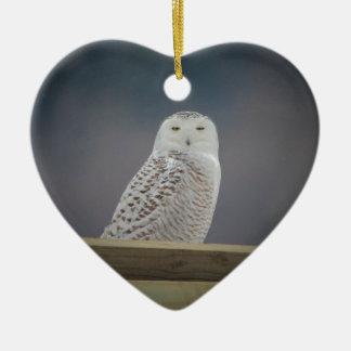 Owl_3308 nevado ornamento de cerâmica coração