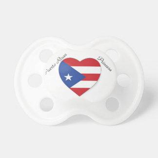 paci porto-riquenho do coração do orgulho chupeta para bebê