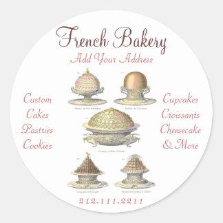 Padaria francesa do vintage elegante - pastelaria, adesivo