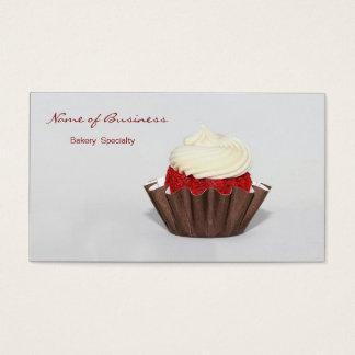 Padaria vermelha do cupcake de veludo cartão de visitas