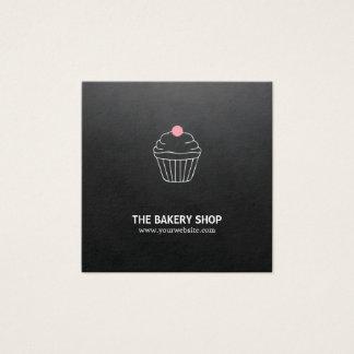 Padeiro preto minimalista moderno dos doces do cartão de visitas quadrado