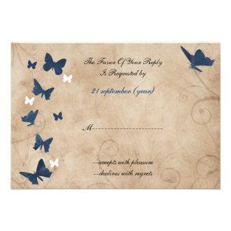 padrão 3,5 x 5 do rsvp do casamento da borboleta d convites personalizado