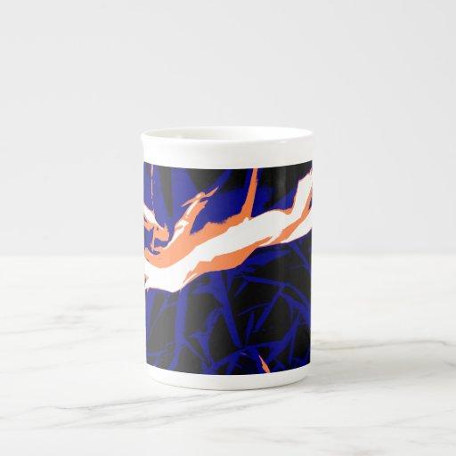 Padrão abstrato azul e laranja caneca de porcelana