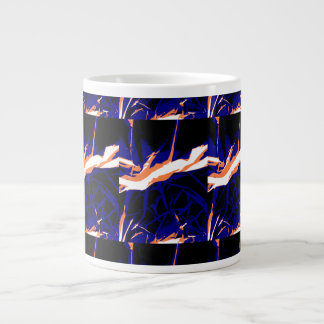 Padrão abstrato azul e laranja canecas de café muito grande