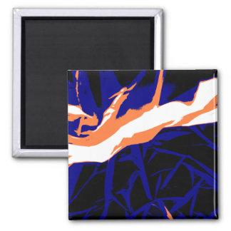 Padrão abstrato azul e laranja imã de refrigerador