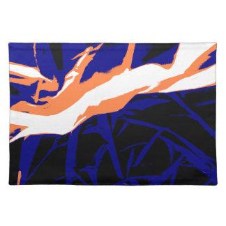 Padrão abstrato azul e laranja suporte para prato