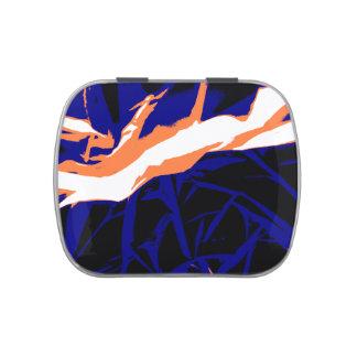 Padrão abstrato azul e laranja latinhas de jelly beans