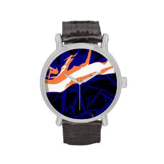 Padrão abstrato azul e laranja relógio de pulso