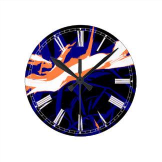Padrão abstrato azul e laranja relógios de paredes