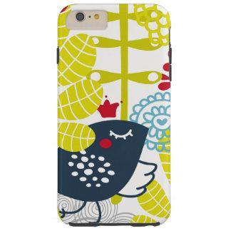 padrão das flores e dos pássaros resistentes capa tough para iPhone 6 plus