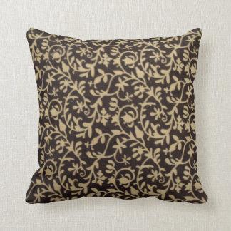 padrão de flores a preto e branco travesseiro