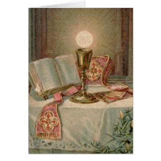 Padre católico do Eucaristia de Missal do cálice Cartão Comemorativo