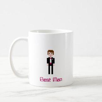 Padrinho de casamento do pixel - marrom caneca de café