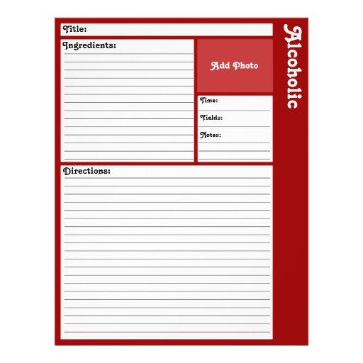 Página alinhada da receita (obscuridade - vermelho panfleto