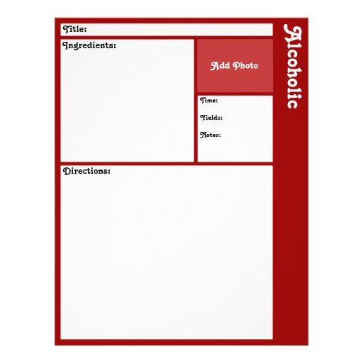 Página da receita (obscuridade - vermelho) panfleto personalizados