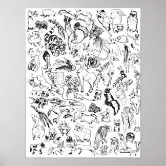 """""""Página do Doodle do animal & da criatura da Poster"""