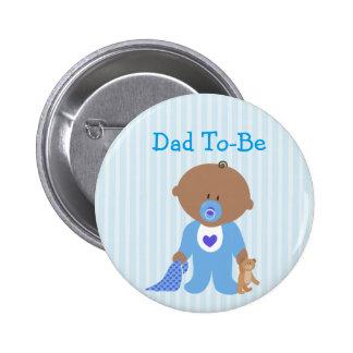 Pai azul a ser botão do chá de fraldas bóton redondo 5.08cm
