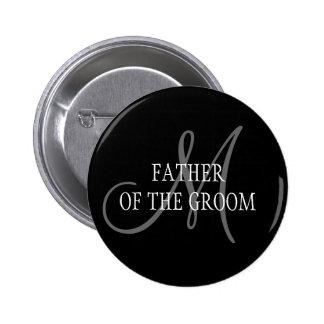 Pai do botão do monograma do casamento do noivo bóton redondo 5.08cm