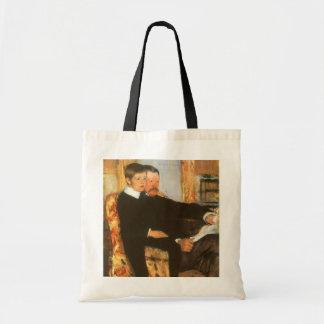 Pai do vintage e retrato da família do filho por bolsa