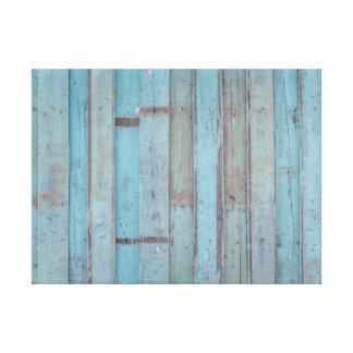 Painel de madeira azul pintado da praia impressão em tela