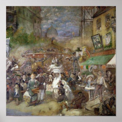 Painel decorativo que descreve Paris Pôsteres