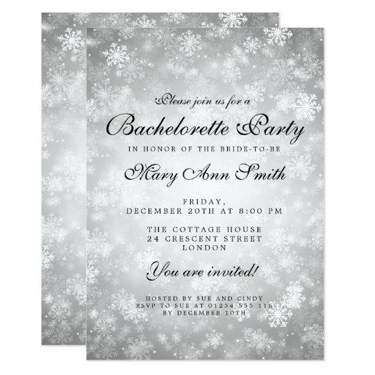 País das maravilhas de prata do inverno da festa convite 12.7 x 17.78cm