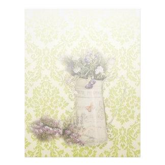 País francês rústico da flor da lavanda do damasco papel timbrado