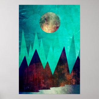 Paisagem abstrata bonito do lago mountain poster