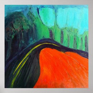 paisagem abstrata de um Canyon Road Poster