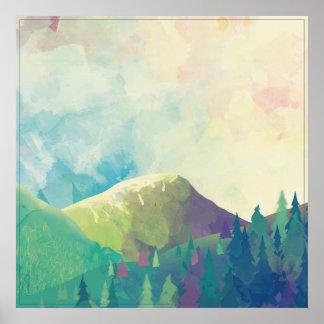 Paisagem bonita da floresta - arte da aguarela poster