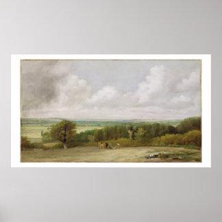 Paisagem: Cena Ploughing no Suffolk (um Summerlan Posteres