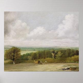 Paisagem: Cena Ploughing no Suffolk (um Summerlan Pôsteres