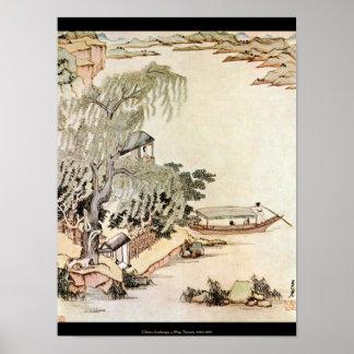 Paisagem chinesa - dinastia de Ming 1630-1650 Pôster