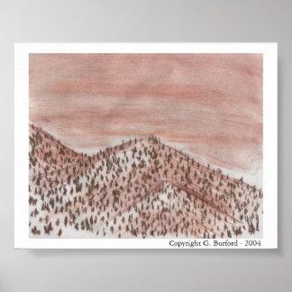 Paisagem com árvores - Conte da montanha Poster