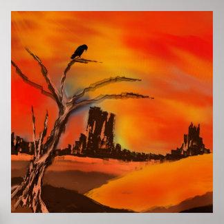 paisagem com céu vermelho posters