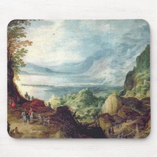 Paisagem com mar e montanhas (óleo em canvas) mouse pad