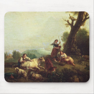 Paisagem com os camponeses que olham um rebanho do mouse pad