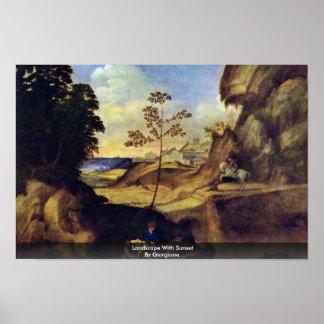 Paisagem com por do sol por Giorgione Posters