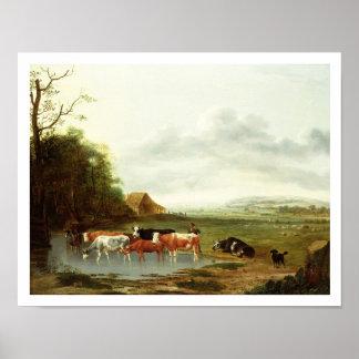 Paisagem com um pastor e o gado (óleo no canva posters