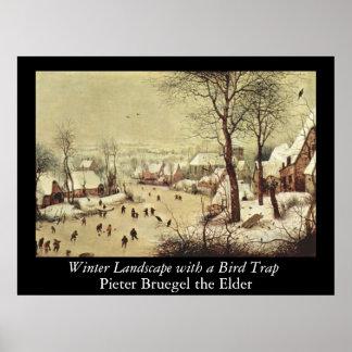 Paisagem com uma armadilha do pássaro - 1565 do in poster