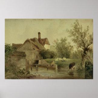 Paisagem com uma casa de campo poster