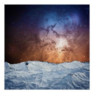 Paisagem cósmica do inverno póster
