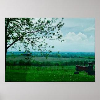 Paisagem da fazenda de Midwest no poster de