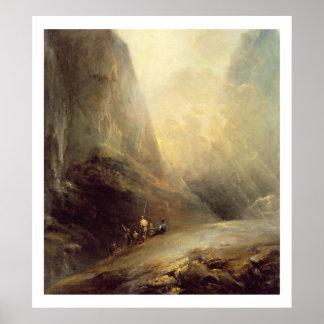 Paisagem da montanha com Banditti, c.1780 (óleo em Pôsteres