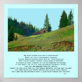 paisagem da montanha e poema do rumi poster