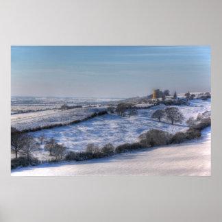 Paisagem da neve do castelo do XL Hadleigh Poster