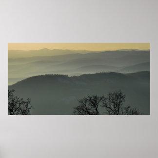 paisagem da névoa pôsteres