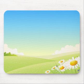 Paisagem das flores do primavera ou do verão mouse pads