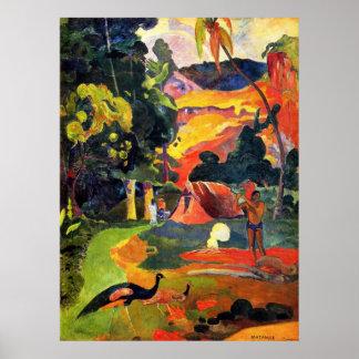 Paisagem de Gauguin com poster dos pavões