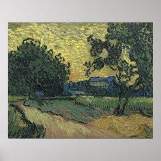 Paisagem de Van Gogh no crepúsculo 1890 Poster